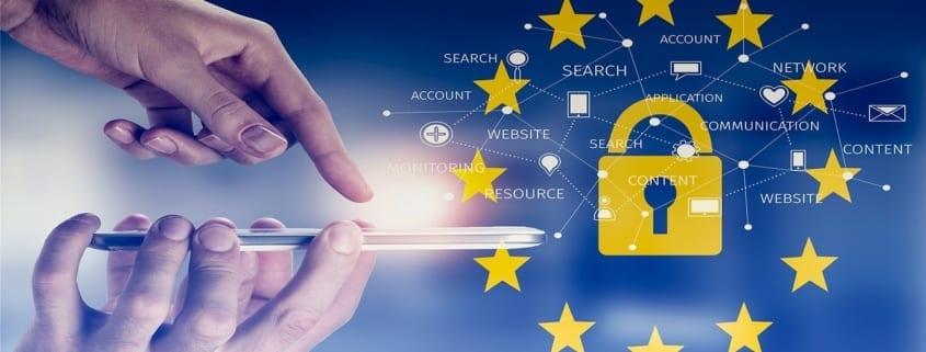 Hengelås, EUs stjerner, mobiltelefon. De beste GDPR-løsningene