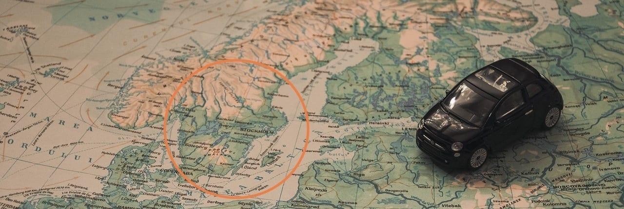 Kart over Norge og Sverige. Vi har etablert Sariba i Sverige